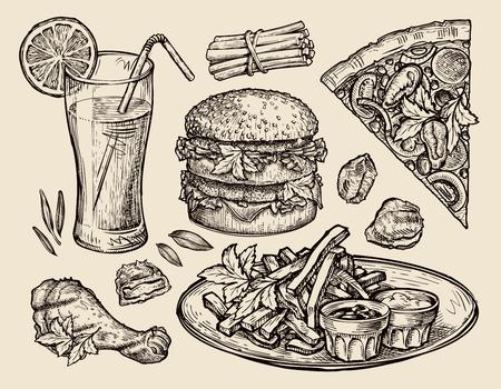 cibo. disegno vettoriale pizza, hamburger, patatine fritte, hamburger, pepite, succo