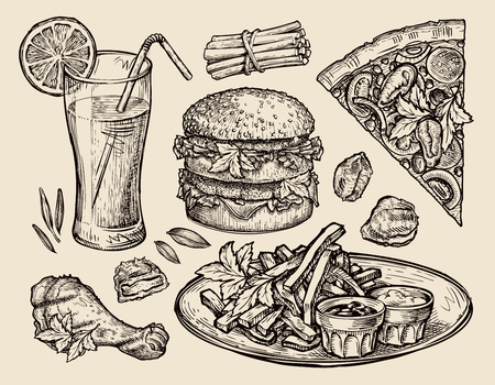 food. vector sketch pizza, hamburger, fries, burger, nuggets, juice Illustration