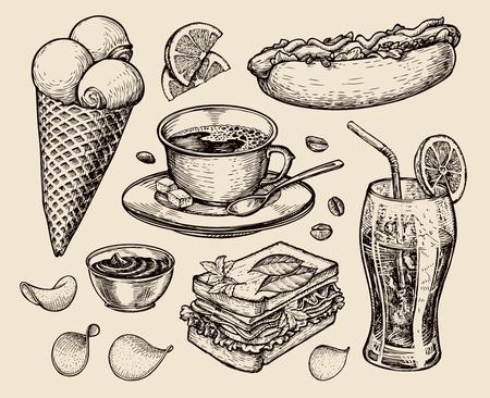 aliments. vecteur café, thé, sandwich, hot dog, de la soude, la crème glacée croquis