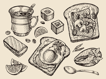 fried: food. vector sketch cup coffee, tea, sandwich, fried egg, sushi