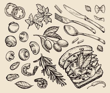 food. sketch toast, olives, parsley, rosemary, pasta, mushrooms