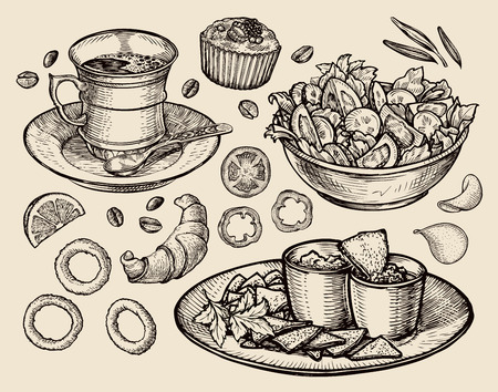 食品。スケッチのコーヒー、紅茶、サラダ、ナチョス、マフィン、デザートをベクトルします。