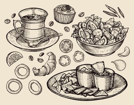 eten. vector schets koffie, thee, salade, nacho's, muffin, dessert Stock Illustratie