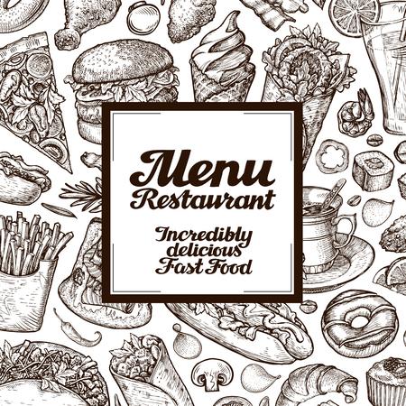 メニュー レストランやカフェ。手描きのスケッチ食品