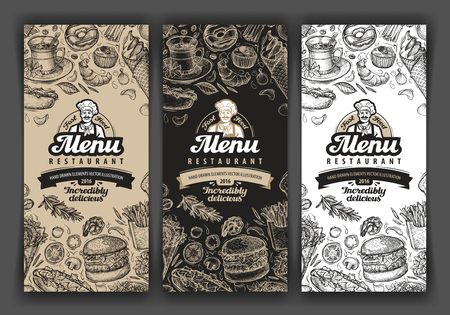 logo de comida: restaurante de menú del vector, cafetería. alimentos bocetos dibujados a mano