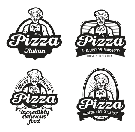 pizza vector . cafe, food, pizzeria, restaurant or chef icon