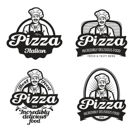 Vecteur de pizza. café, nourriture, pizzeria, restaurant ou icône de chef Banque d'images - 56433103