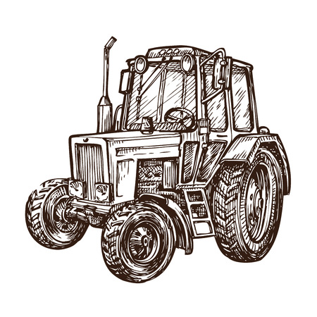 arable: hand drawn farm tractor. sketch vector illustration