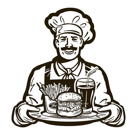 luncheon: fast food vector . restaurant or cook, chef icon Illustration