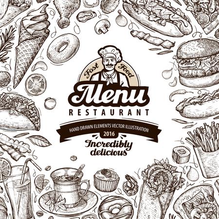hand illustration: menu restaurant, cafe template design. hand drawn food