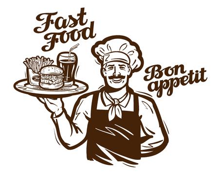cafe food: fast food vector . restaurant, cafe or diner icon