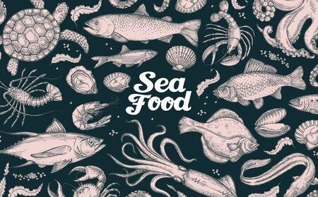 underwater world: seafood. hand drawn underwater world. vector sketch
