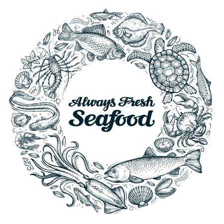 seafood. restaurant menu or cafe design template. sketches food