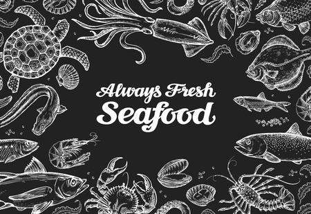 魚介類。テンプレート デザイン メニューのレストランやカフェ。描かれた食品を手します。