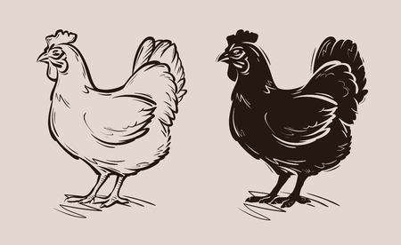 鶏のベクトル。ファーム、家禽または雌鶏、鶏アイコン