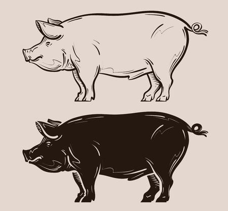 Schwein Vektor. Bauernhof, Schwein oder Schweinchen Symbol