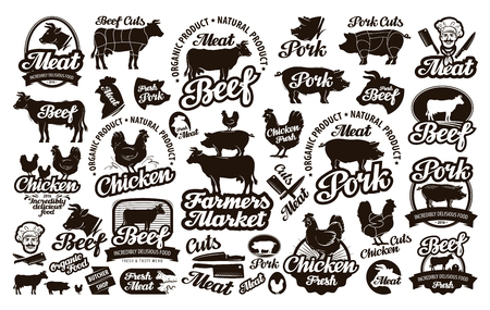 Butchery, meat. icons, elements, labels. vector illustration