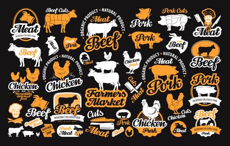 carniceria: vector conjunto de etiquetas de carnicería, iconos y elementos de diseño Vectores