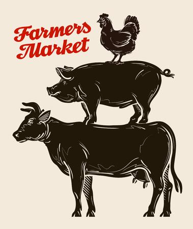 농장 동물, 가축 농업, 축산, 가축 사육 일러스트