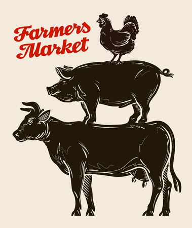 boerderijdieren, veeteelt, veeteelt, veeteelt Stock Illustratie