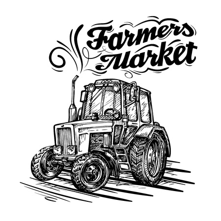 arable: vector farm tractor hand drawn isolated on a white background