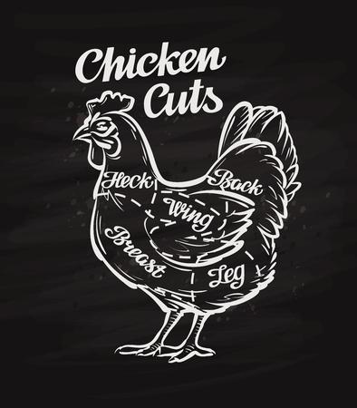 los trozos de pollo. El diseño del menú plantilla para restaurante o cafetería Ilustración de vector