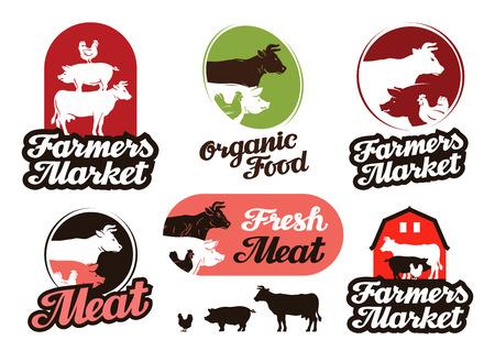 meat food: farm vector. meat, food or livestock breeding icon Illustration