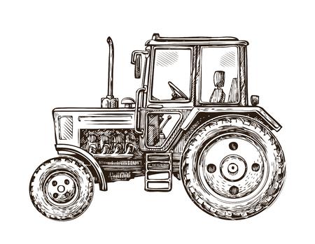 農場トラクターのスケッチ。手描きの背景イラスト