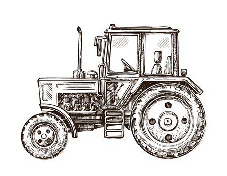 agricultural engineering: Farm tractor sketch. Hand drawn vector illustration