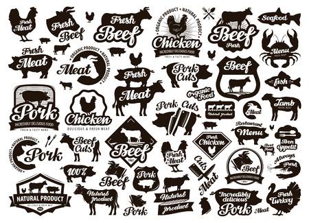 레스토랑, 카페 벡터입니다. 음식, 고기 또는 메뉴, 요리 아이콘