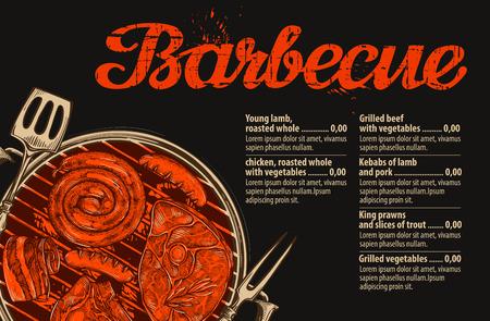 バーベキュー、グリル。レストランやカフェのメニュー デザインのベクトル テンプレート。手描きスケッチ食品, 肉