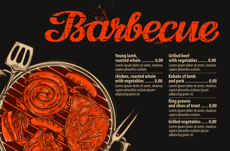 Barbecue, grill. Vector template of menu design for restaurant or cafe. Hand drawn sketch food, meat