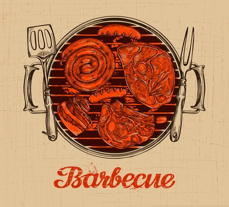 chargrill: BBQ party. Barbecue vector template of menu design restaurant or cafe