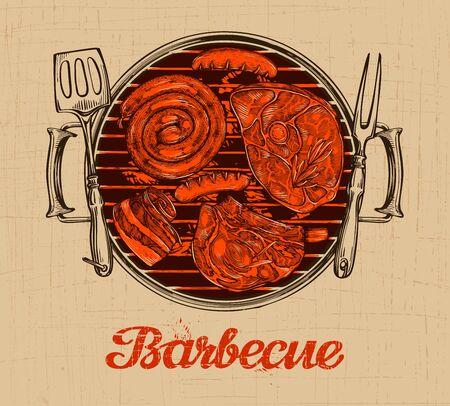 BBQ party. Barbecue modèle de vecteur de restaurant design de menu ou un café