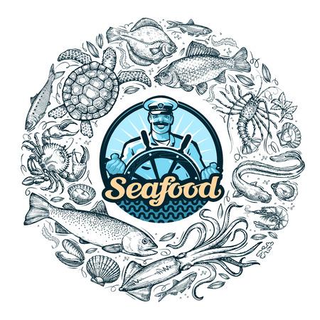 disegnata a mano frutti di mare o cibo. illustrazione vettoriale