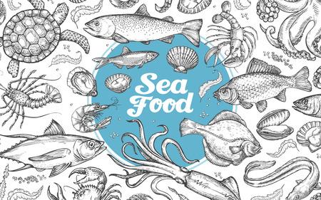 魚介類や水中の世界。手描きのスケッチ。ベクトル図