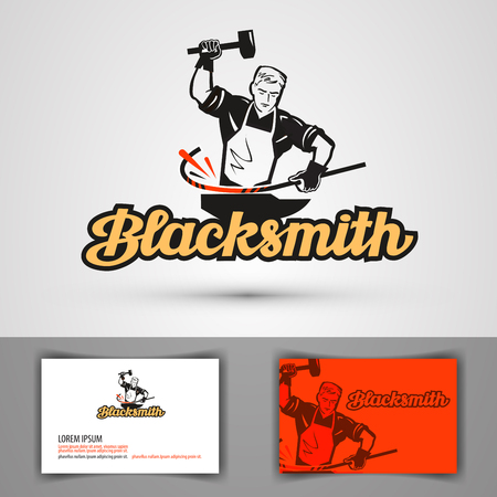 smithery: blacksmith vector . smithy or farrier, forge icon