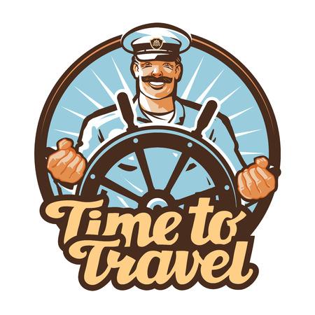 Vettoriale viaggio. viaggio o marinaio, capitano della nave icona Archivio Fotografico - 56433589