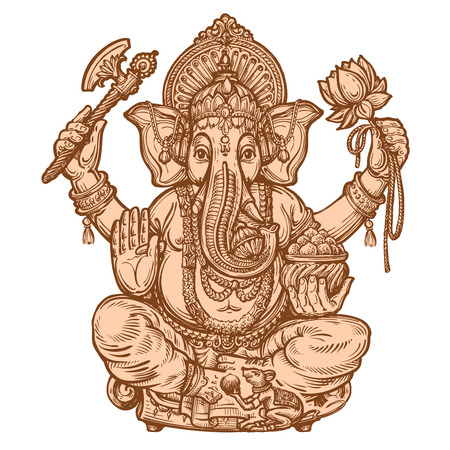 devotion: happy Ganesh Chaturthi. hand drawn sketch. vector illustration Illustration