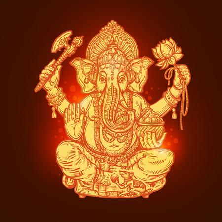 ganesh: Hermosa tarjeta con Dios Ganesha. ilustración vectorial Vectores