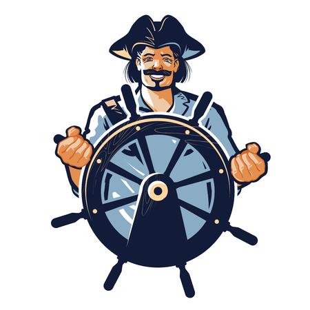 sea robber: pirate vector. corsair or captain, sailor, seafarer icon Illustration