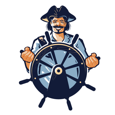 vector de pirata. corsario o capitán, marinero, icono de la gente de mar Ilustración de vector