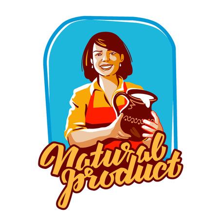 woman drinking milk: milk vector. milkmaid or farm, farming icon