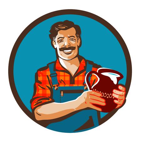 fresh milk: fresh milk vector. drink or farmer icon Illustration
