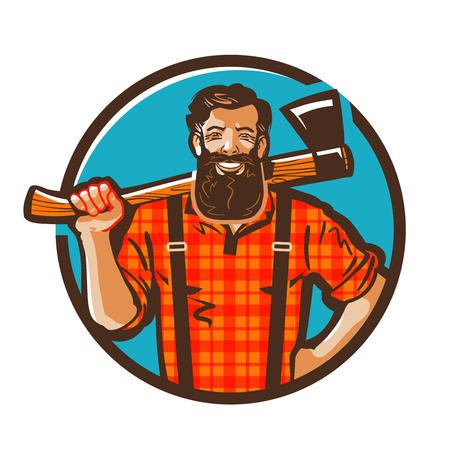 Holzfällers Vektor. Holzfäller oder Schreiner Symbol Standard-Bild - 56433602