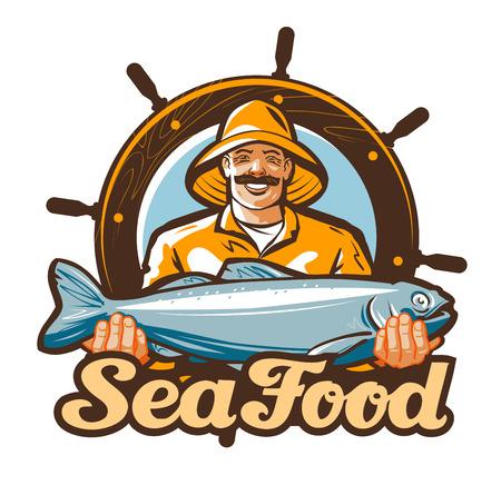 segurar: pesca de marisco vector ou ícone peixe fresco Ilustração