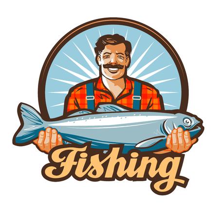 salmon fishery: fishing vector. fisherman or fish icon