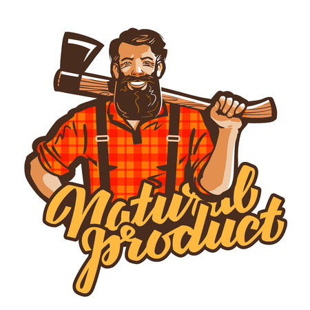 lumberjack: woodcutter, lumberjack vector. joiner or carpenter icon Illustration