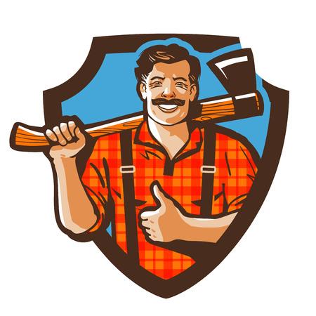 leñador canadiense barbudo con el hacha en la camisa a cuadros