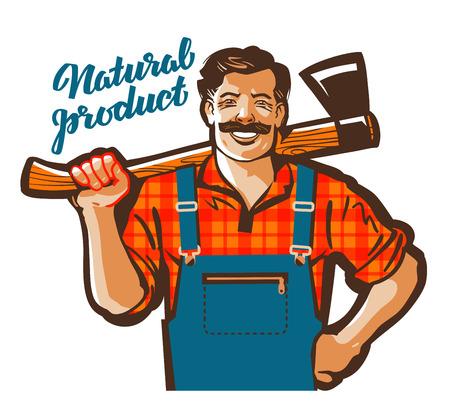 masculine: funny cartoon carpenter or lumberjack. vector illustration Illustration